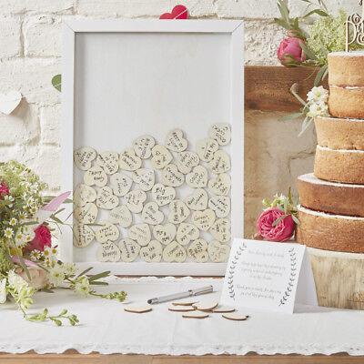 Ginger Ray Hochzeit Gästebuch Glückwünsche Bilderrahmen Herzen Holzrahmen