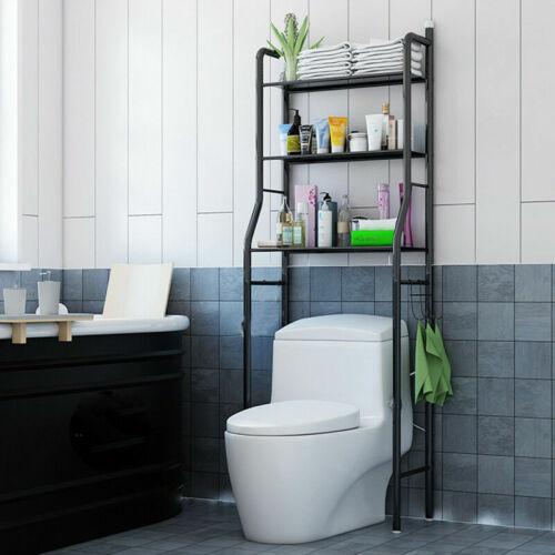 details sur etagere de salle de bain meuble de rangement au dessus des toilettes wc noir