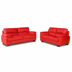 dfs red leather corner sofa bed ebay dye two seater |