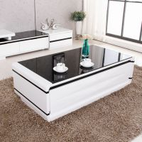 Modern Design Livingroom Black Glass Top High Gloss White