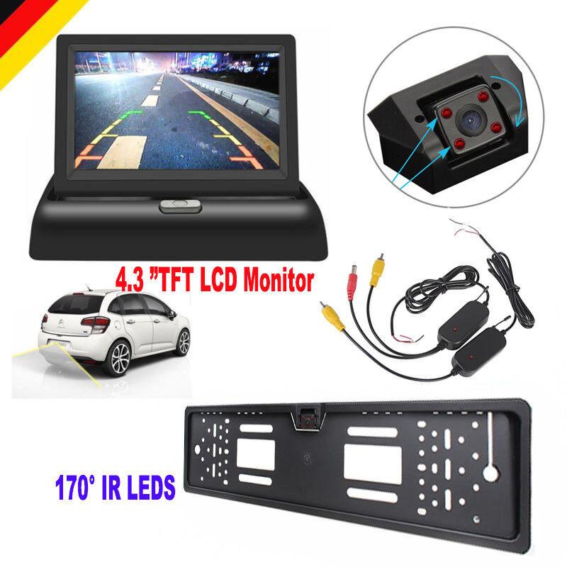 Funk 170° LED IR Rückfahrkamera kennzeichen kabellos Nummernschild Einparkhilfe