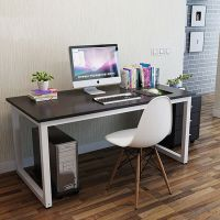 Computer Desk PC Table Home Office Black White Wood Metal ...