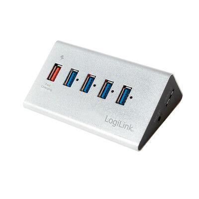 LogiLink 5 Port USB HUB - 4x USB3.0 + 1x Schnell-Ladeport Aluminium mit Netzteil
