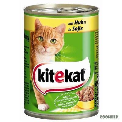 12x400g Kitekat Dose mit Huhn in Soße Katzenfutter ohne Konservierungsstoffe