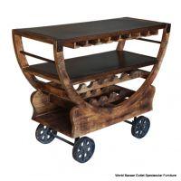 "48"" Long Bar Cart Wine Rack Rustic Bronze Wheels Solid ..."
