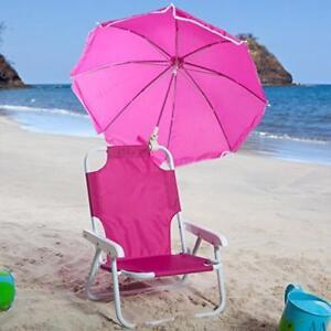 kids beach chair with adjustable umbrella light redmon baby hot pink lightweight stock photo