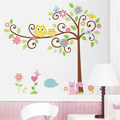 Owl tree squirrel wall sticker art mural decal kids room diy decor