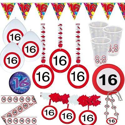 Party Dekoration 16. Geburtstag Verkehrsschild Tischdeko Schild Girlande