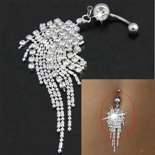 Crystal Tassel Chain Dangle Navel Belly Button Ring Bar
