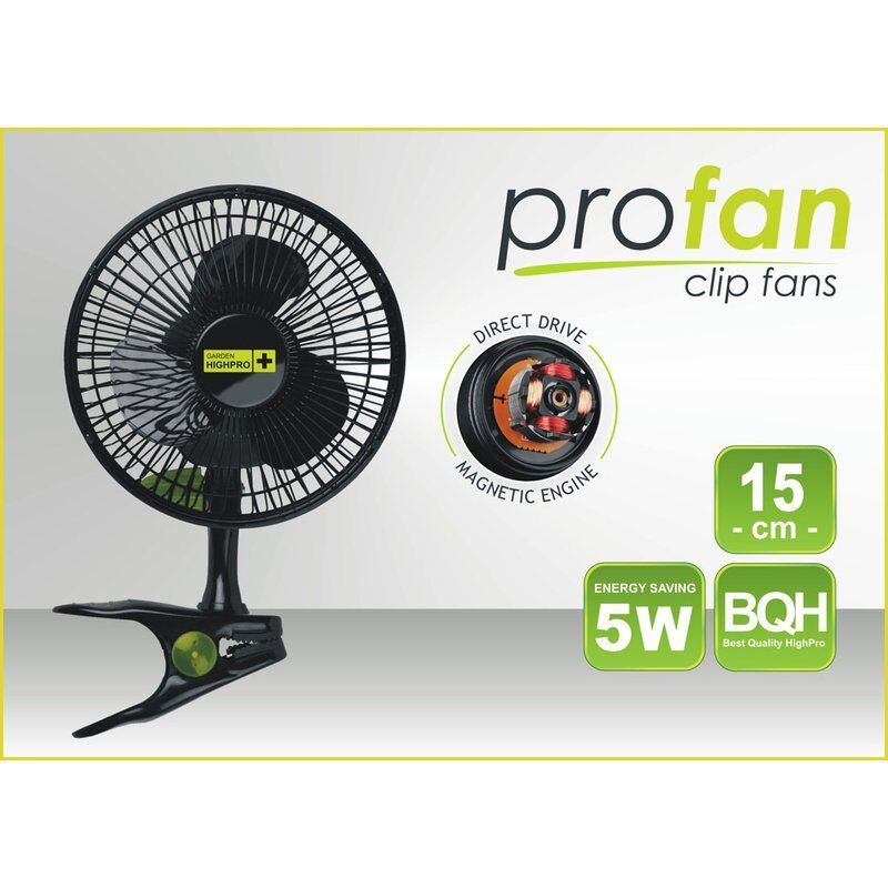 Garden Highpro Eco Fan Clip Ventilator Umluft 15 cm 5 W sehr leise Profan Grow