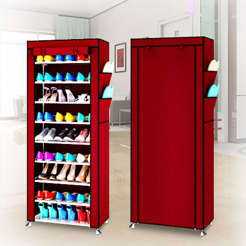 Dust Proof 10 Tier Shoe Cabinet Storage Organizer Shoe