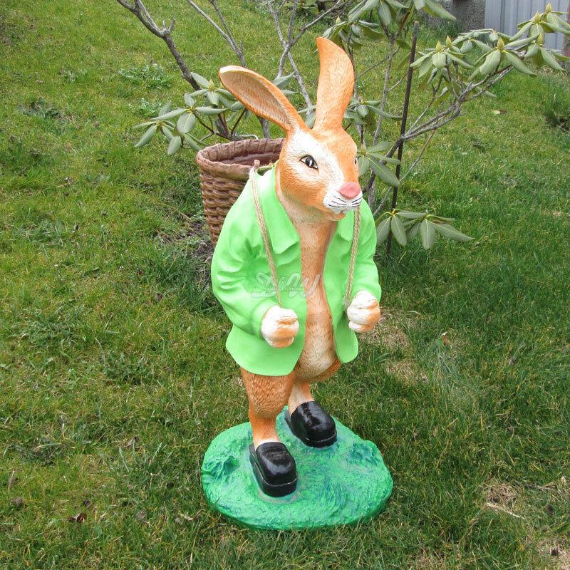 OSTERHASE stehend grün mit KORB 73 cm Garten Deko Tier Figur Ostern Osterdeko