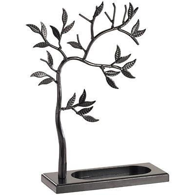 Schmuckständer: Dekorativer Schmuckbaum schwarz aus Vollmetall, Höhe 30cm