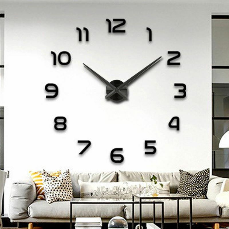 Wanduhr Uhr 3D Wandtattoo Deko Design Spiegel Edelstahl Wand Uhr Groß XXL XL C24