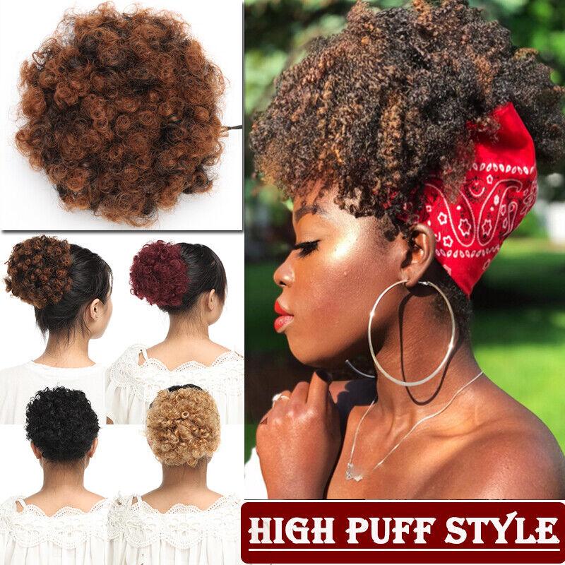 Real Natural Afro Hair Bun Fluffy Puff Chignon Clip In Hair Piece