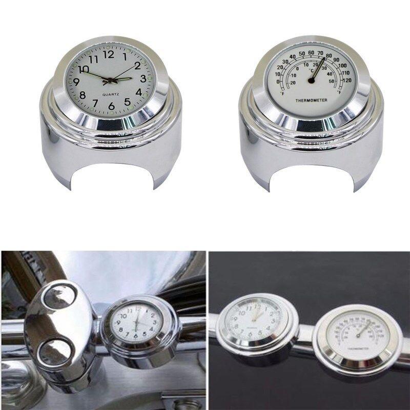 Set Universal Motorraduhr Uhr Uhren Motorräder Lenkeruhr Thermometer Temp 7/8