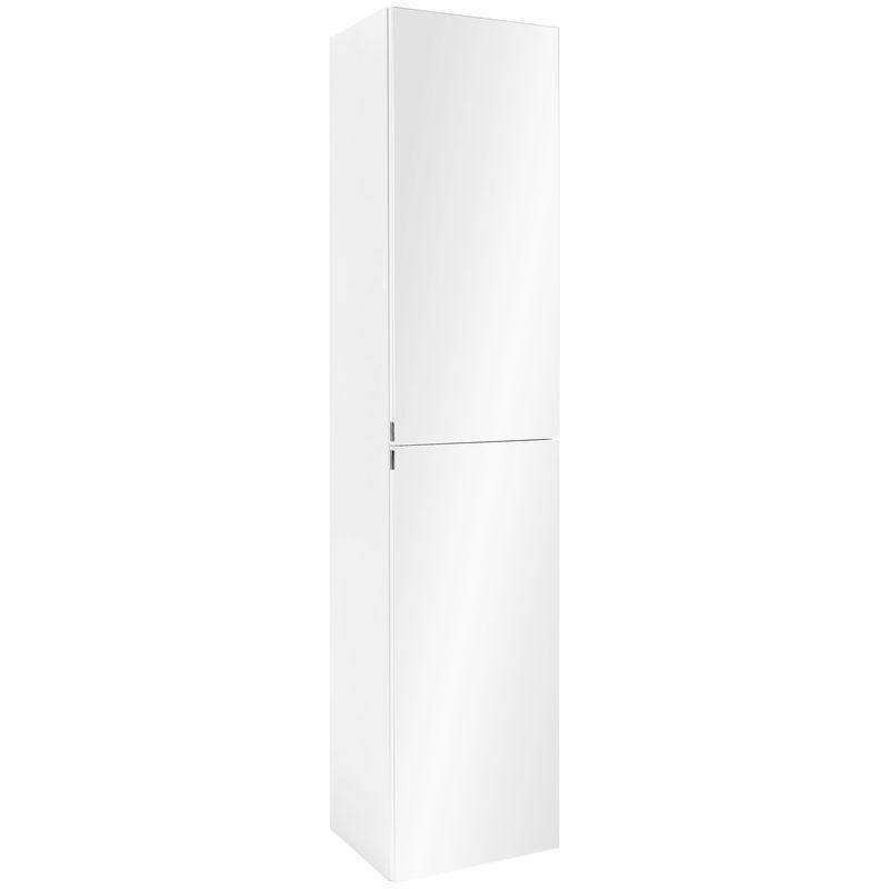 Badezimmer Hochschrank in weiß mit Spiegel Seitenschrank Badmöbel Hängeschrank