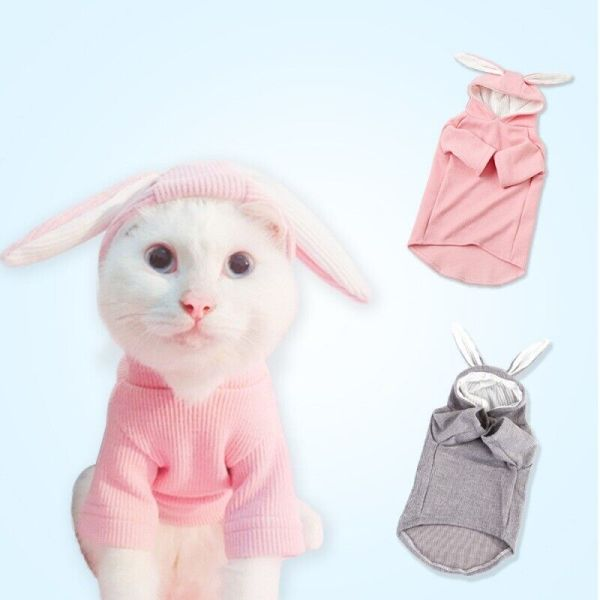 Pets Cute Rabbit Ears Costume Puppy Dogs Cats Cartoon Clothes Hoodie Outfit
