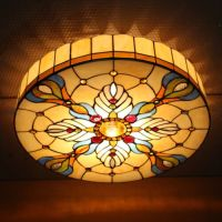 Retro Tiffany Baroque Style Flush Mount Stained Glass ...