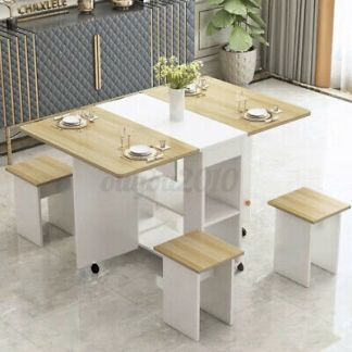 3IN1 Rolling Dining Table Set Kitchen Trolley Breakfast Desk Furniture +4 Chairs