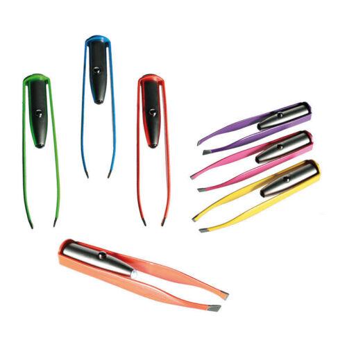 Pinzette mit LED Lampe Licht Edelstahl Neon Augenbrauen zupfen Zupfpinzette