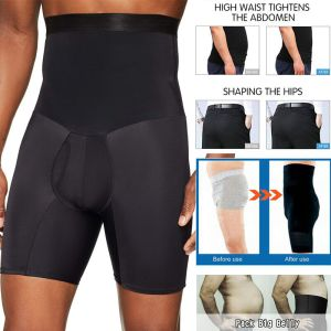 Men's Compression High Waist Slim Shorts Tummy Body Contour Shaper Girdle Pants