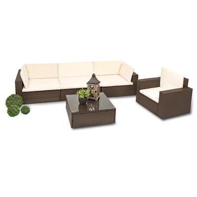 Polyrattan Lounge Set braun Rattan Gartenmöbel Sitzgruppe Sofa Tisch Lounge