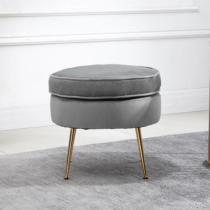 modern grey velvet footstool ottoman