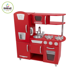 Retro Kids Kitchen Floor Tiles Ideas Kidkraft Red Refrigerator Pretend Play Set Stock Photo