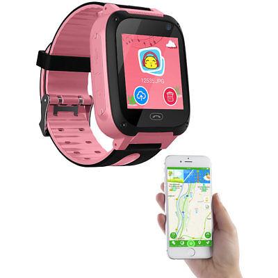 TrackerID Kinder-Smartwatch mit Telefon, GSM/LBS-Tracking, SOS-Funktion, rosa