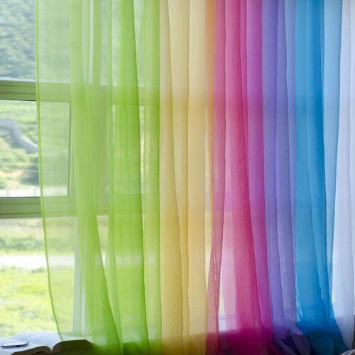 Regenbogen Farbe Gardine Voile Schlaufenschal Vorhang Transparent Netz Vorhang