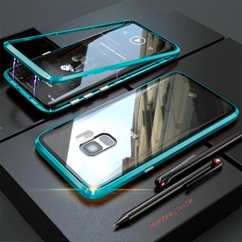 360° Magnet Case Für Samsung Galaxy S8 / S9 / Plus / Hülle Glas Metall Tasche
