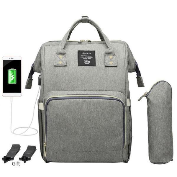 LEQUEEN Waterproof Diaper Bag USB Charging Large Capacity Mummy Nursing Backpack 4