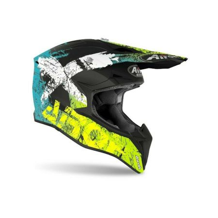 CASCO MOTO CROSS ENDURO AIROH WRAAP YELLOW MATT SMILE GIALLO 2020 WRSM31 OPACO