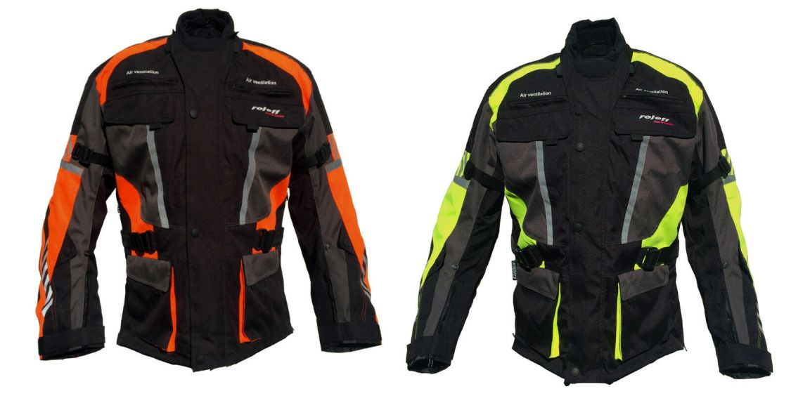 Roleff Racewear lange Motorradjacke mit Protektoren und auffälligen Neon Design
