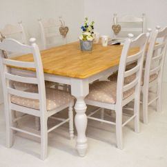 Oak Farmhouse Chairs Pillowcase Chair Covers Beautiful Shabby Chic Dining Table And 6