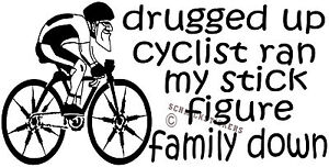 Funny Stick Figure Family Sticker Drugged Up Cyclist