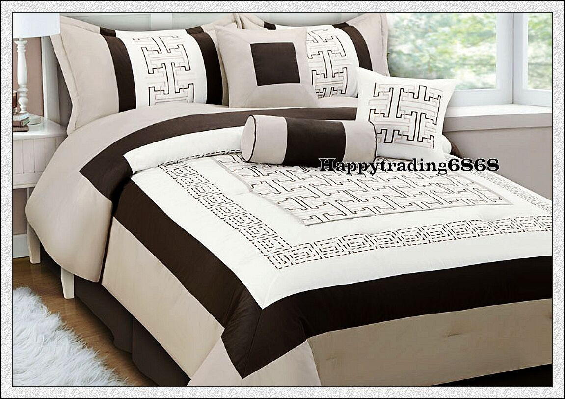 Latte Brown Off White Stylish Embro 7pc Queen Comforter