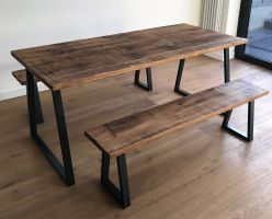 Oak Pine Industrial Reclaimed Rustic Wood Steel Metal ...