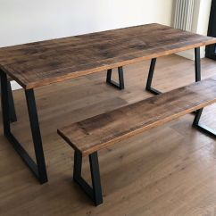 Steel Kitchen Table Touchless Faucet Oak Pine Industrial Reclaimed Rustic Wood Metal Dining Benches Free Delivery