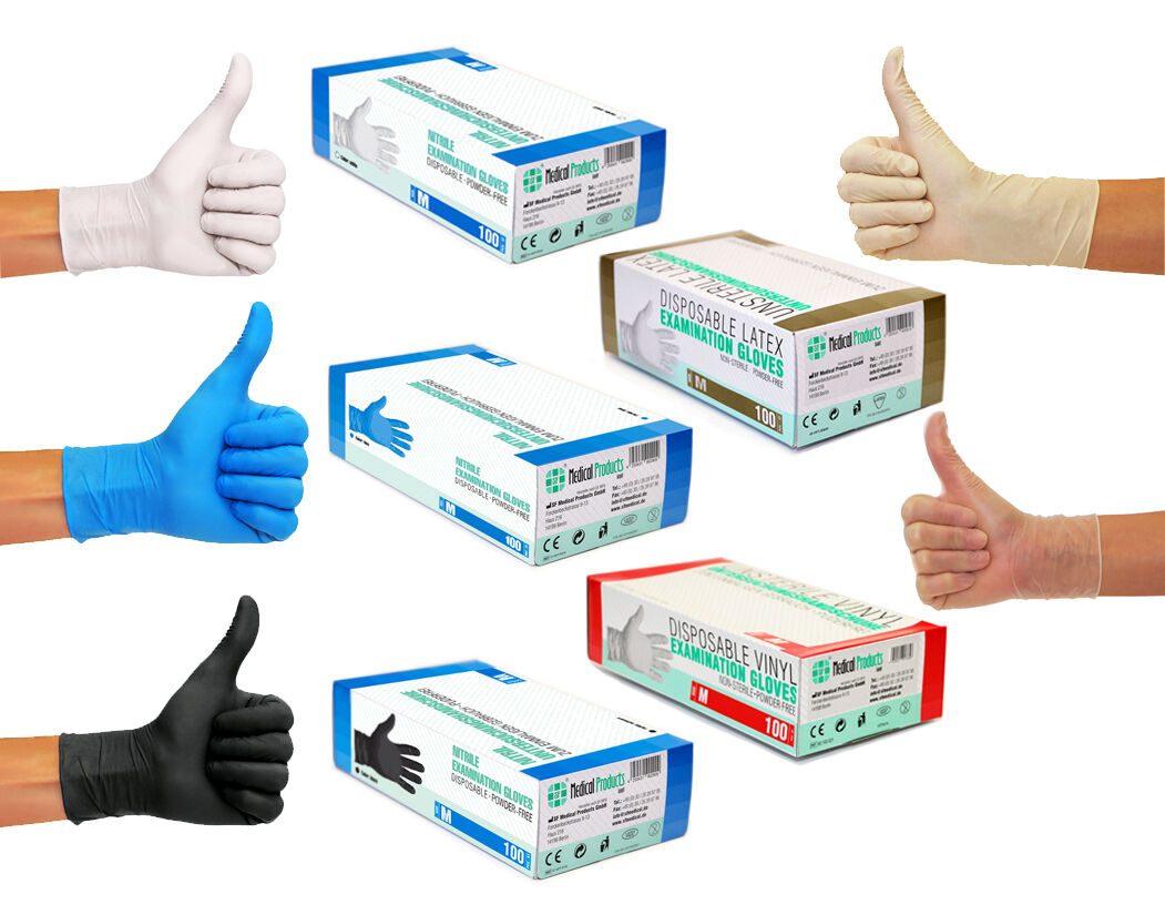 Nitrilhandschuhe Einweghandschuhe Latexhandschuhe Vinylhandschuhe Schwarz Weiß