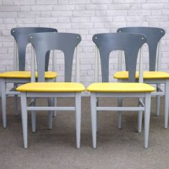 Upcycled Dining Room Chairs Chair Covers Hamilton 4 Mid Century Painted Grey With