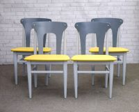 4 Mid Century Upcycled Dining Chairs Painted Grey with ...
