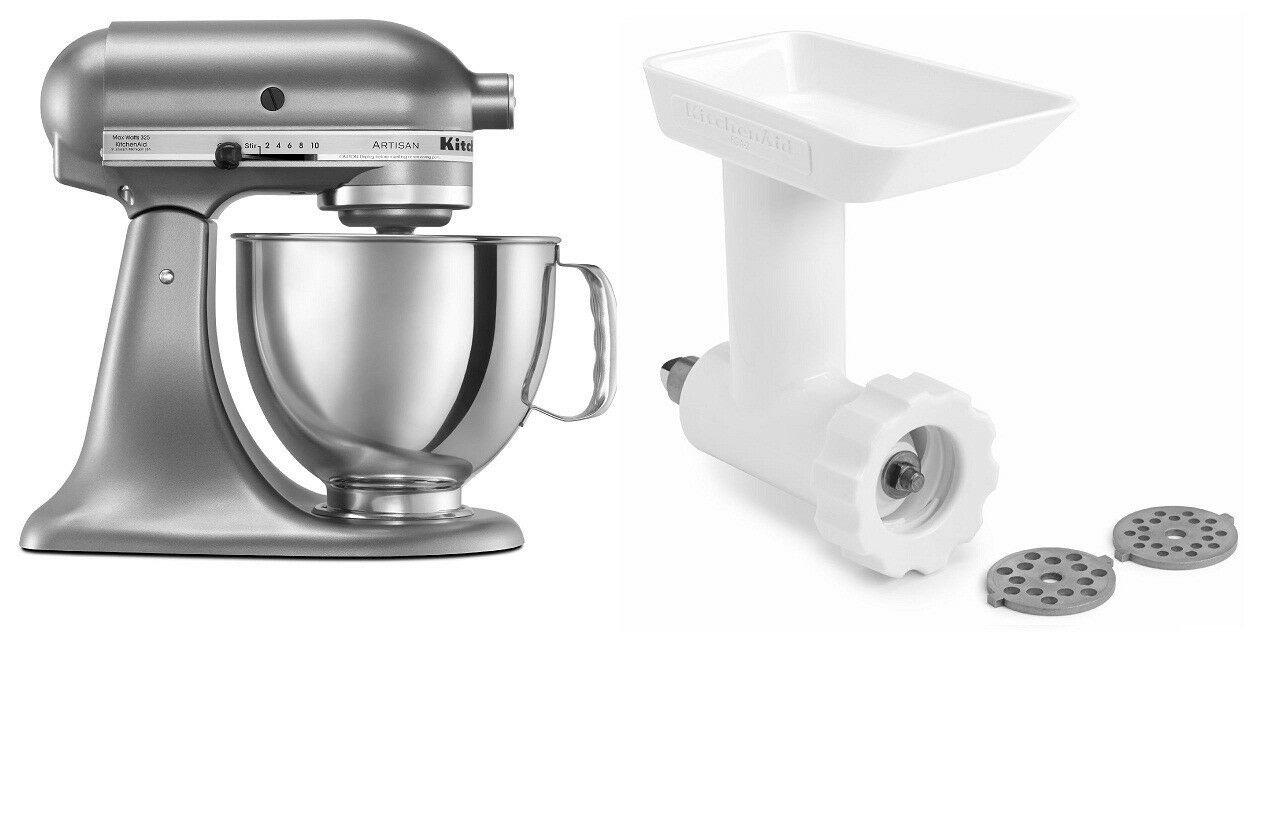 kitchen aid meat grinder attachment cabinet handles kitchenaid artisan 5 qt tilt stand mixer and fga food nut