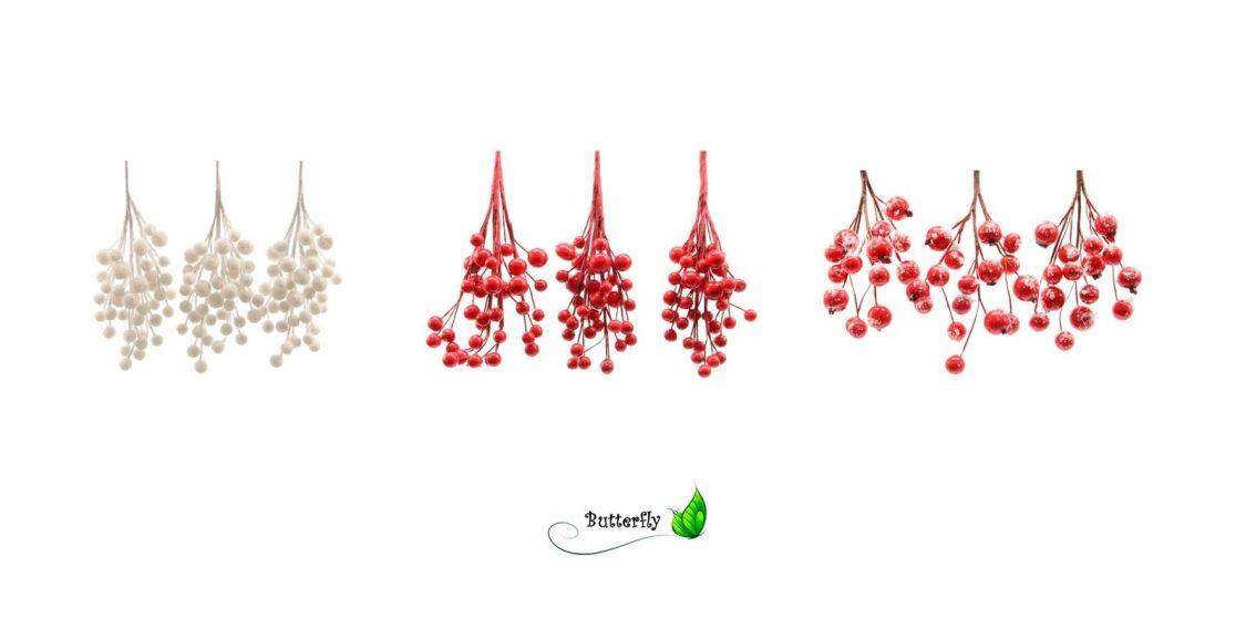3 Beerenzweige 15cm Zweige Kunstzweige künstliche rote Beeren basteln mit Schnee