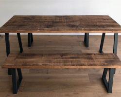 Industrial Rustic Wood Steel Oak Pine Metal Kitchen Dining ...