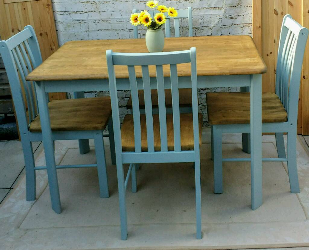 blue kitchen chairs yellow pine cabinets farmhouse shabby chic dining table and 4 duck egg