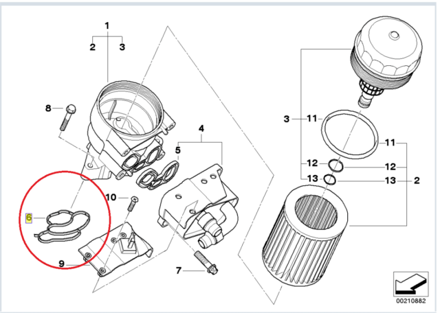 Genuine BMW Oil Filter Housing Profile Gasket E46 E87 E90