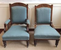 2 Antique Victorian Ladies Gents Library Throne Salon ...
