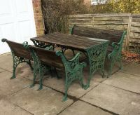 Cast iron and wood table , chair and bench patio garden ...